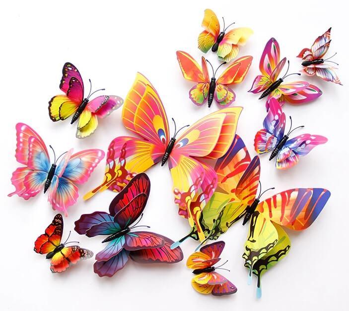Barevní motýlci na zeď 12ks