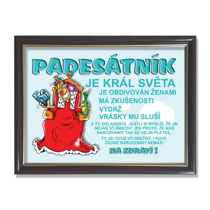 přání k 50 narozeninám texty vtipné Rámeček  Padesátník | Dárkoviny.cz   vtipné dárky pro muže a ženy přání k 50 narozeninám texty vtipné